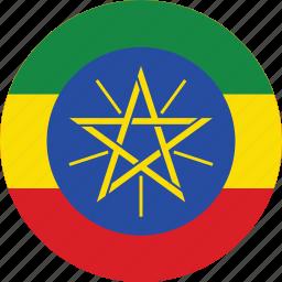circle, circular, country, ethiopia, ethiopia flag, flag, flag of ethiopia, flags, national, round, world icon