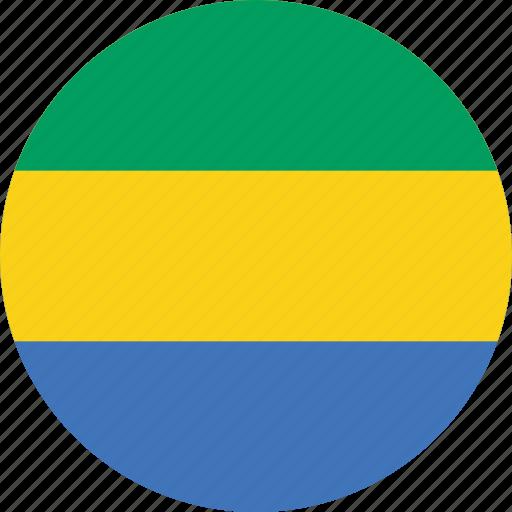 circle, circular, country, flag, flag of gabon, flags, gabon, gabon flag, national, round, world icon