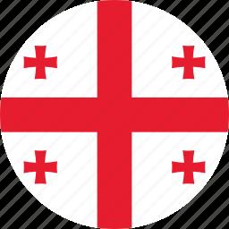 circle, circular, country, flag, flag of georgia, flags, georgia, georgia flag, national, round, world icon