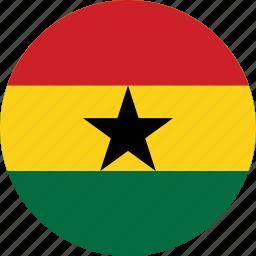 circle, circular, country, flag, flag of ghana, flags, ghana, ghana flag, national, round, world icon