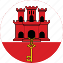 circle, circular, country, flag, flag of gibraltar, flags, gibraltar, gibraltar flag, national, round, world icon