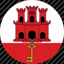 circle, circular, country, flag, flag of gibraltar, flags, gibraltar, gibraltar flag, national, round, world icon