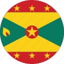 circle, circular, country, flag, flag of grenada, flags, grenada, grenada flag, national, round, world icon