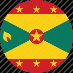 circle, circular, country, flag, flag of grenada, flags, grenada, grenada flag, national, round, world icon