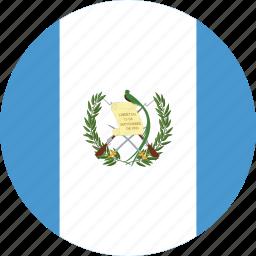 circle, circular, country, flag, flag of guatemala, flags, guatemala, guatemala flag, national, round, world icon