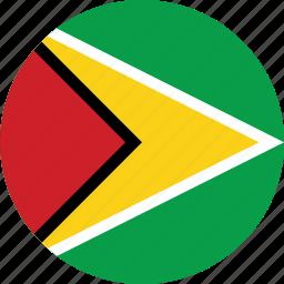circle, circular, country, flag, flag of guyana, flags, guyana, guyana flag, national, round, world icon