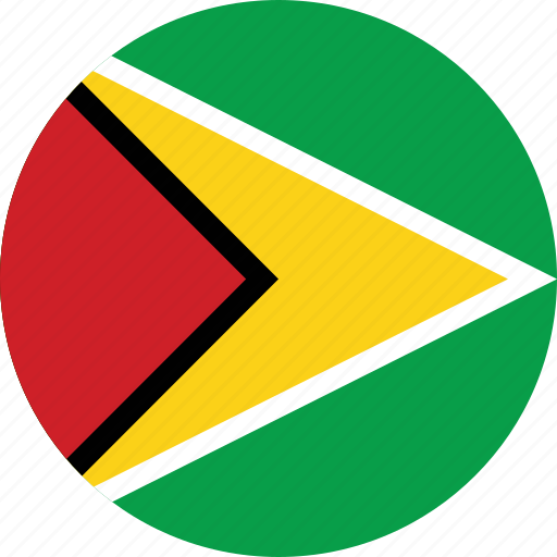 circle, circular, country, flag, flag of guyana, flags, guyana, guyana flag, national, round, world icon