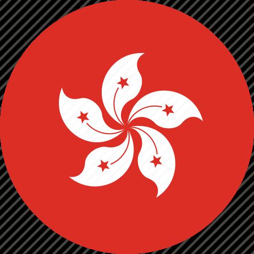 circle, circular, country, flag, flag of hong, flag of hong kong, flags, hong, hong kong, hong kong flag, kong, national, round, world icon