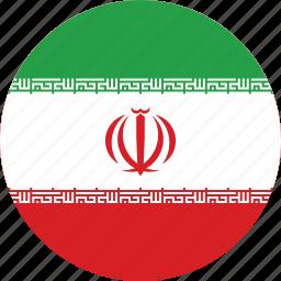 circle, circular, country, flag, flag of iran, flags, iran, iran flag, national, round, world icon