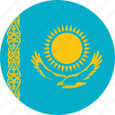 circle, circular, country, flag, flag of kazakhstan, flags, kazakhstan, kazakhstan flag, national, round, world icon