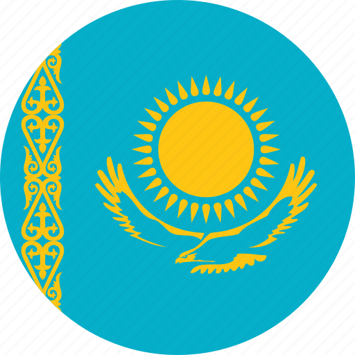 circle, circular, country, flag, flag of kazakhstan, flags, kazakhstan, kazakhstan flag, national, round, world icon