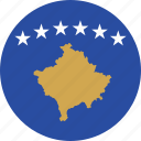 circle, circular, country, flag, flag of kosovo, flags, kosovo, kosovo flag, national, round, world icon