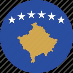 circle, circular, country, flag, flag of kosovo, flags, kosovo, kosovo flag, national, round, world icon