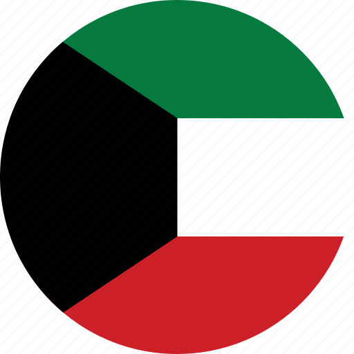 circle, circular, country, flag, flag of kuwait, flags, kuwait, kuwait flag, national, round, world icon