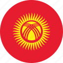 circle, circular, country, flag, flag of kyrgyzstan, flags, kyrgyzstan, kyrgyzstan flag, national, round, world icon