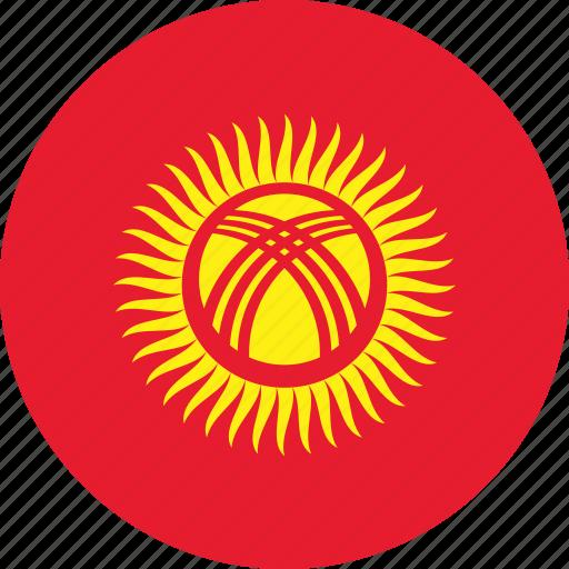 circle, circular, country, flag, flag of kyrgyzstan, flags, kyrgyzstan, kyrgyzstan flag, national, round, world icon
