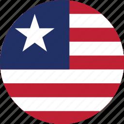 circle, circular, country, flag, flag of liberia, flags, liberia, liberia flag, national, round, world icon