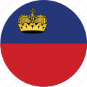 circle, circular, country, flag, flag of liechtenstein, flags, liechtenstein, liechtenstein flag, national, round, world icon