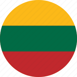 circle, circular, country, flag, flag of lithuania, flags, lithuania, lithuania flag, national, round, world icon