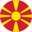 circle, circular, country, flag, flag of macedonia, flags, macedonia, macedonia flag, national, round, world icon