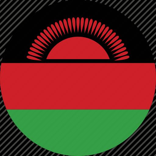 circle, circular, country, flag, flag of malawi, flags, malawi, malawi flag, national, round, world icon