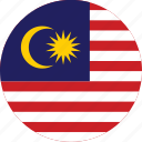 circle, circular, country, flag, flag of malaysia, flags, malaysia, malaysia flag, national, round, world icon