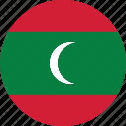 circle, circular, country, flag, flag of maldives, flags, maldives, maldives flag, national, round, world icon