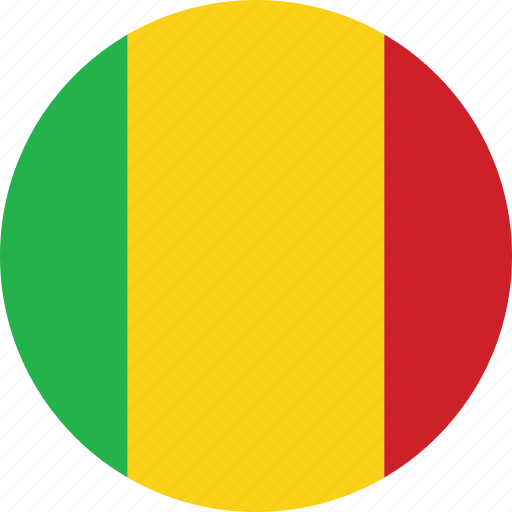 circle, circular, country, flag, flag of mali, flags, mali, mali flag, national, round, world icon