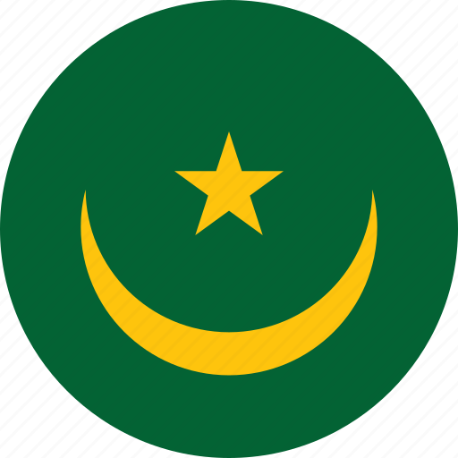 circle, circular, country, flag, flag of mauritania, flags, mauritania, mauritania flag, national, round, world icon