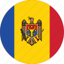 circle, circular, country, flag, flag of moldova, flags, moldova, moldova flag, national, round, world icon