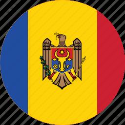 circle, circular, country, flag, flag of moldova, flags, moldova, moldova flag, national, round, world icon