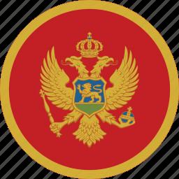 circle, circular, country, flag, flag of montenegro, flags, montenegro, montenegro flag, national, round, world icon