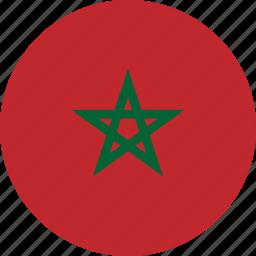 circle, circular, country, flag, flag of morocco, flags, morocco, morocco flag, national, round, world icon