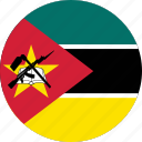 circle, circular, country, flag, flag of mozambique, flags, mozambique, mozambique flag, national, round, world icon