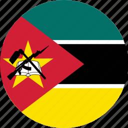 circle, circular, country, flag, flag of mozambique, flags, mozambique, mozambique flag, national, round, world icon