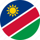 circle, circular, country, flag, flag of namibia, flags, namibia, namibia flag, national, round, world icon