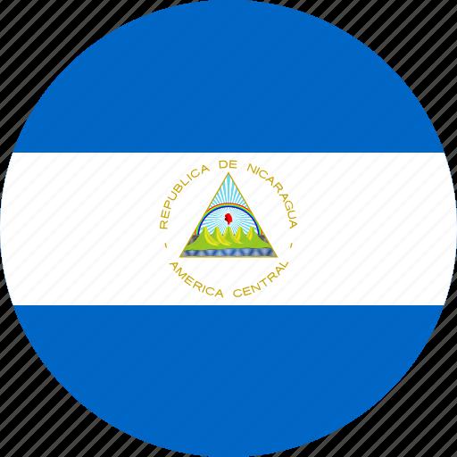 circle, circular, country, flag, flag of nicaragua, flags, national, nicaragua, nicaragua flag, round, world icon