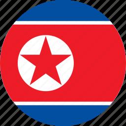 circle, circular, country, flag, flag of north, flag of north korea, flags, korea, national, north, north korea, north korea flag, round, world icon