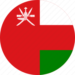 circle, circular, country, flag, flag of oman, flags, national, oman, oman flag, round, world icon