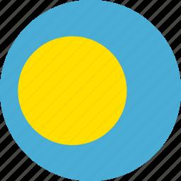 circle, circular, country, flag, flag of palau, flags, national, palau, palau flag, round, world icon