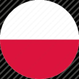 circle, circular, country, flag, flag of poland, flags, national, poland, poland flag, round, world icon