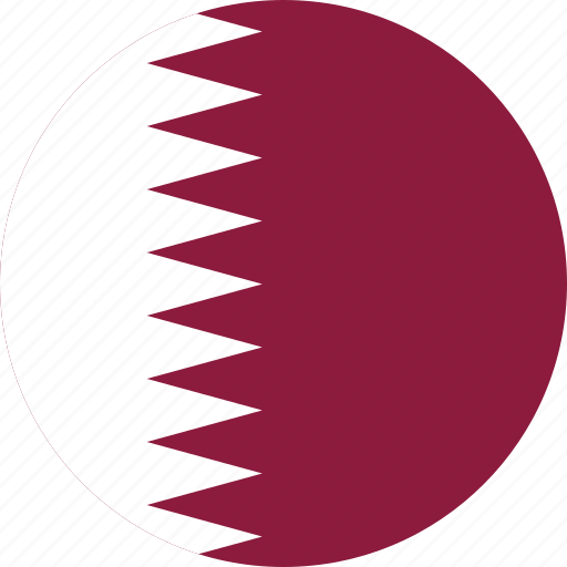 circle, circular, country, flag, flag of qatar, flags, national, qatar, qatar flag, round, world icon