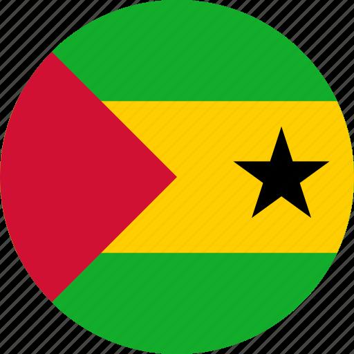 and principe, circle, circular, country, flag, flag of sao, flags, national, principe, round, sao, sao tome, sao tome of and, tome, world icon