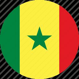 circle, circular, country, flag, flag of senegal, flags, national, round, senegal, senegal flag, world icon