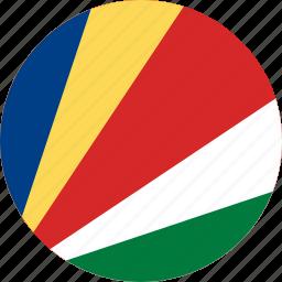circle, circular, country, flag, flag of seychelles, flags, national, round, seychelles, seychelles flag, world icon
