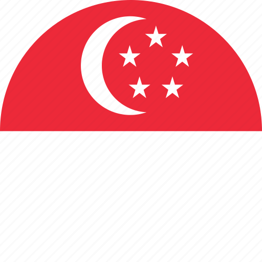 circle, circular, country, flag, flag of singapore, flags, national, round, singapore, singapore flag, world icon