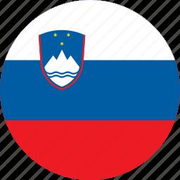 circle, circular, country, flag, flag of slovenia, flags, national, round, slovenia, slovenia flag, world icon