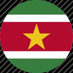 circle, circular, country, flag, flag of suriname, flags, national, round, suriname, suriname flag, world icon