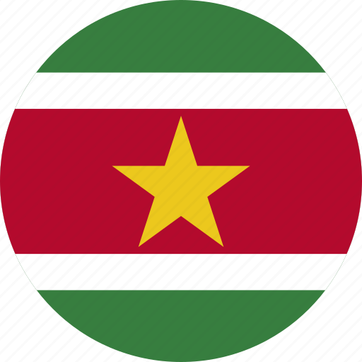 circle, circular, country, flag, flag of suriname, flags, national, round, suriname, suriname flag, world icon