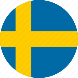 circle, circular, country, flag, flag of sweden, flags, national, round, sweden, sweden flag, world icon